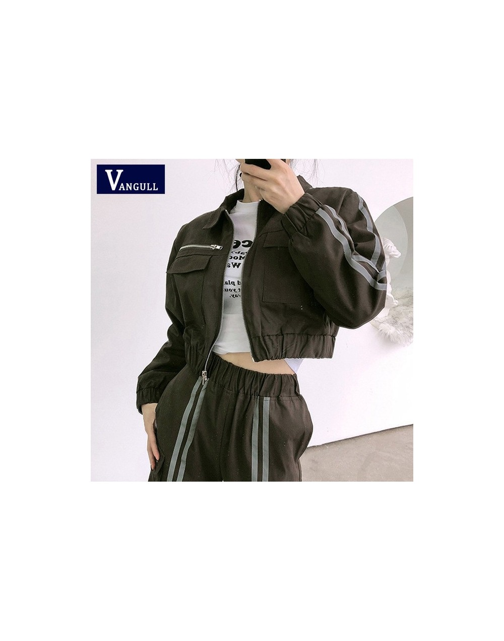 Shiny Side Stripe Two Piece Set Women Crop Top Cargo Pants 2 Piece Set Bomber Jacket Coat Joggers Womens Suit Tracksuit - wi...