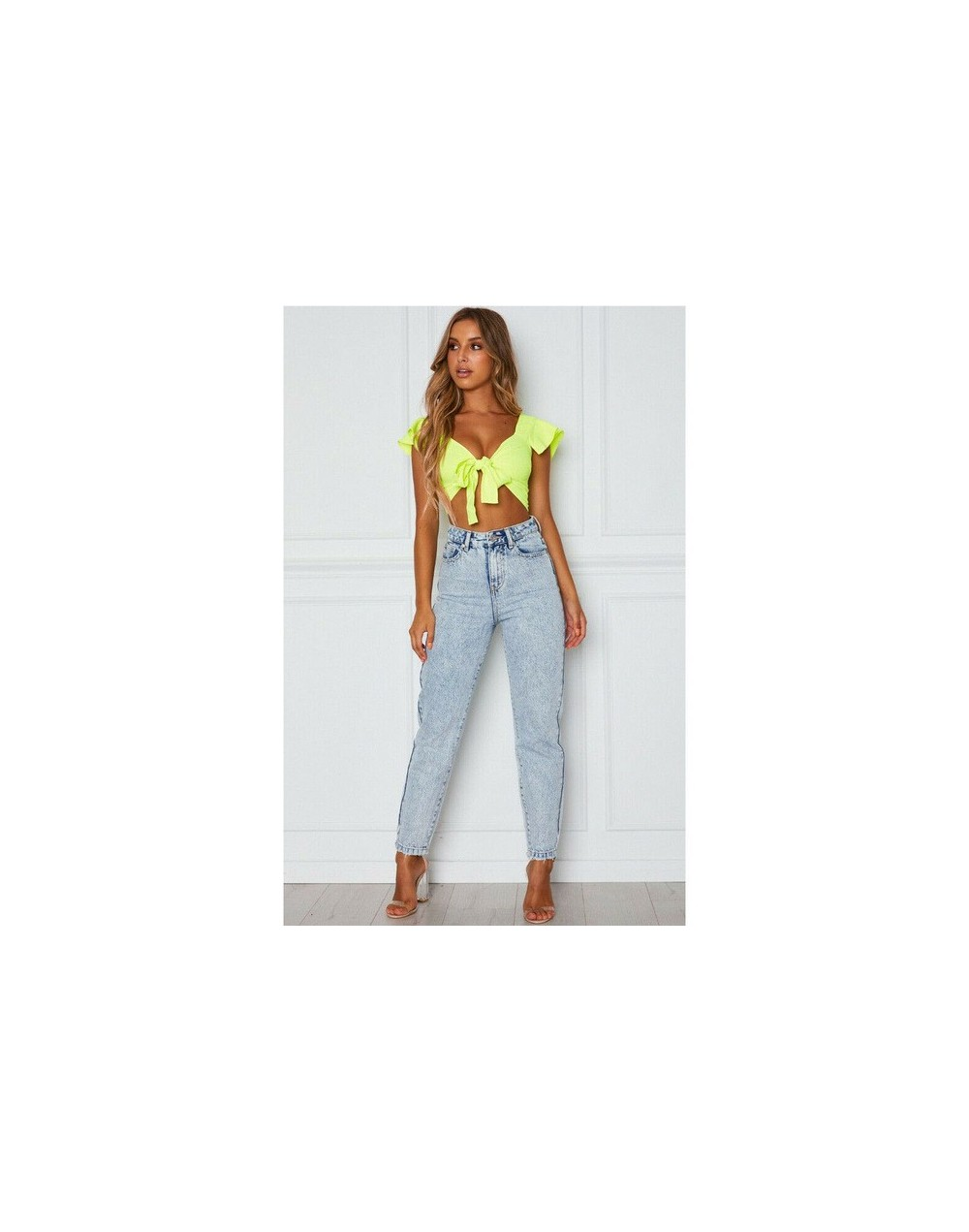Fashion Women Short Sleeve Soft Crop Top Front Knot Tie Ladies Casual Ruffle Solid Color Summer V-Neck Shirt Clothes - Style...