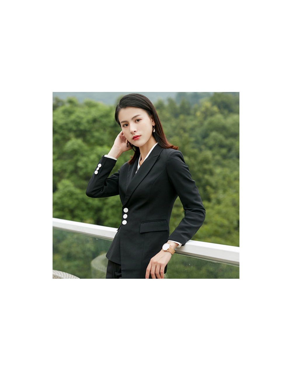Winter White Elegant Office Lady Business Suits Female Two Piece Sets Femme Long Sleeve Blazer Jacket + Pants Suits Outfits ...