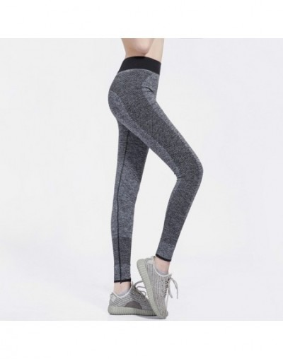 Sports pants female outdoor fitness running quick-drying nine points women's stitching tights women's fitness pant - Gray - ...