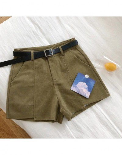 Korean Chic High Waist Summer Shorts For Women 2019 Fashion Solid Casual Pockets Wide Leg Cargo Shorts With Sashes - Army Gr...