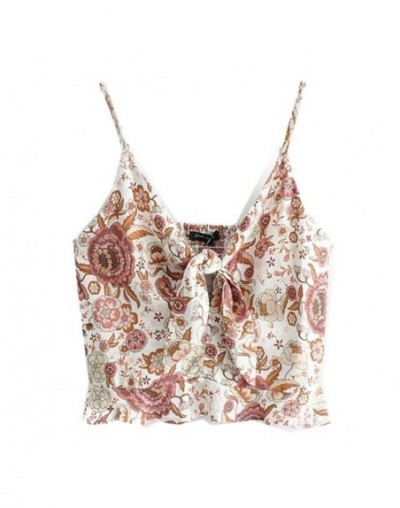 2019 Bohemian Sexy Bow Tied V neck Floral Short Tank Top Women Elastic Back Backless Casual Camisole Cropped Top Summer Cami...