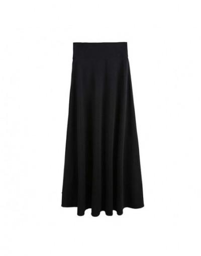 New High Waist Pleat Elegant Skirt Wine Red Black Solid Long Skirts Women Faldas Saia 5XL Plus Size a-line skirts Ladies Jup...