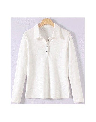 Women Polo Shirts Classic Collar And 4 Buttons Cotton Material Drop Shipping - White - 4G3944859615-1