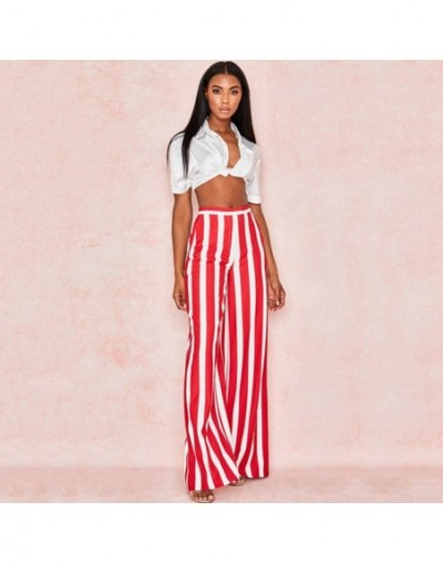 Casual Loose Elastic Waist Pocket Pants Women Red White Striped Pants 2019 Summer Ladies High Waist Streetwear Wide Leg Trou...