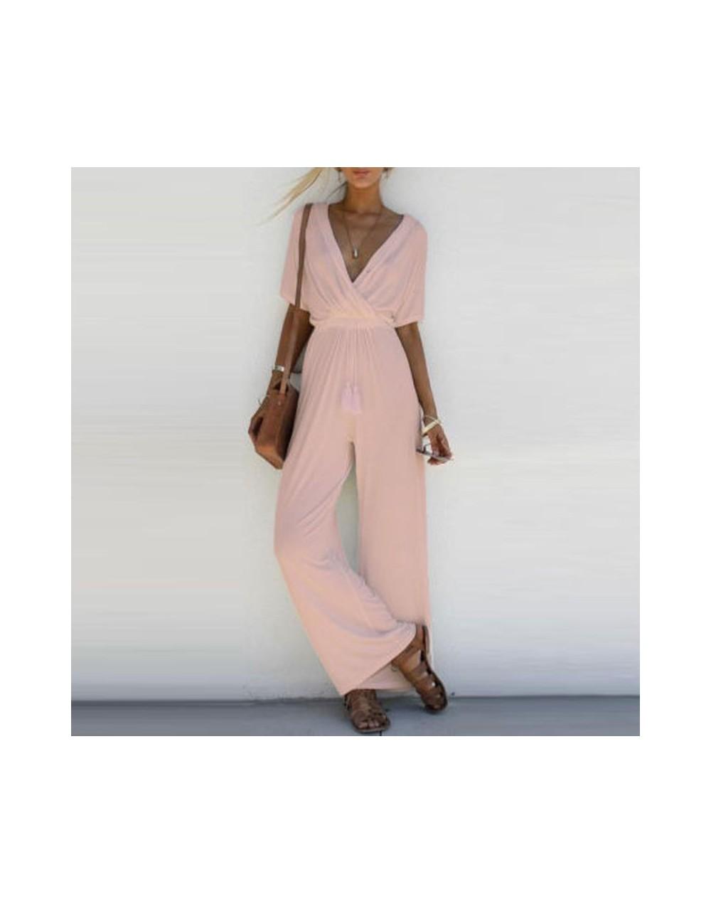 Fashion Women V Neck Loose Playsuit Party Ladies Romper Short Sleeve Long Jumpsuit S-XL - White - 463939370994-3