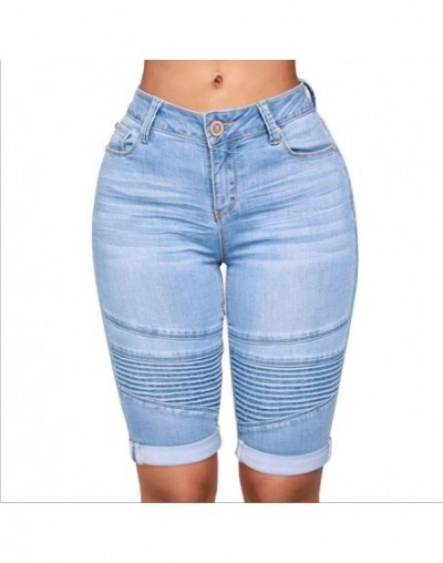 Summer Women's High Waist Denim Blue Shorts Bodycon Knee Length Elastic Slim Fit Classic Shorts 2019 New Style - Light Blue ...