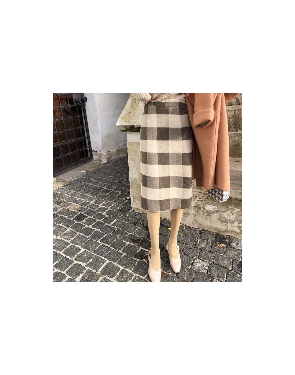 Women 2018 High Waist mid-long Skirt Autumn Winter plaid Vintage all-match Style A Line Skirt MX18D1866 - Khaki - 483075020942