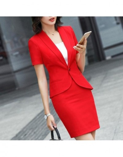 Skirt Suits Office Ladies Wear Work Formal Business Elegant Fashion Designer Slim Fit Short Sleeve Blazer Mini Dress Women S...