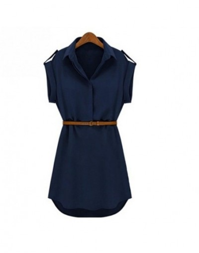 New Women's Cap Sleeve Stretch Chiffon Casual OL Belt Shirt Mini Dress With Belt M L XL XXL - Blue - 4T3885197127-1