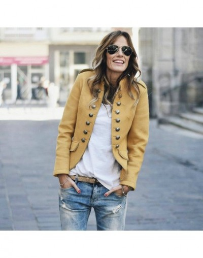 Women Casual Blazers Autumn 2019 Female Solid Yellow Buttons turtleneck Office Work Blazer Ladies Fashion OL Coats - Yellow ...