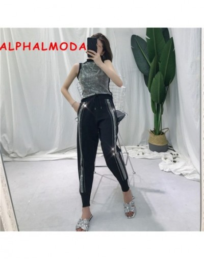 Fashion Knitting Suit Women's Two-piece Set 2019 Summer Diamond Shining Sleeveless Top + High-waist Casual Pants - Black - 4...