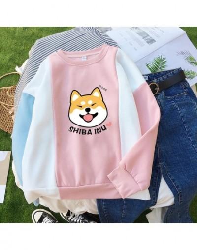 Kpop New Harajuku Shiba Printed Pullover Women Casual Loosse Kawaii Drop Shoulder Color Block Splicing Fleece Hoodies Sweats...