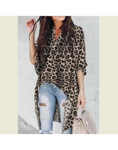 Fashion Women Ladies Summer Leopard Print Blouse Hot Half Sleeve Shirt Loose Casual Long Chiffon Blouse Tops Shirt Blouse Sh...