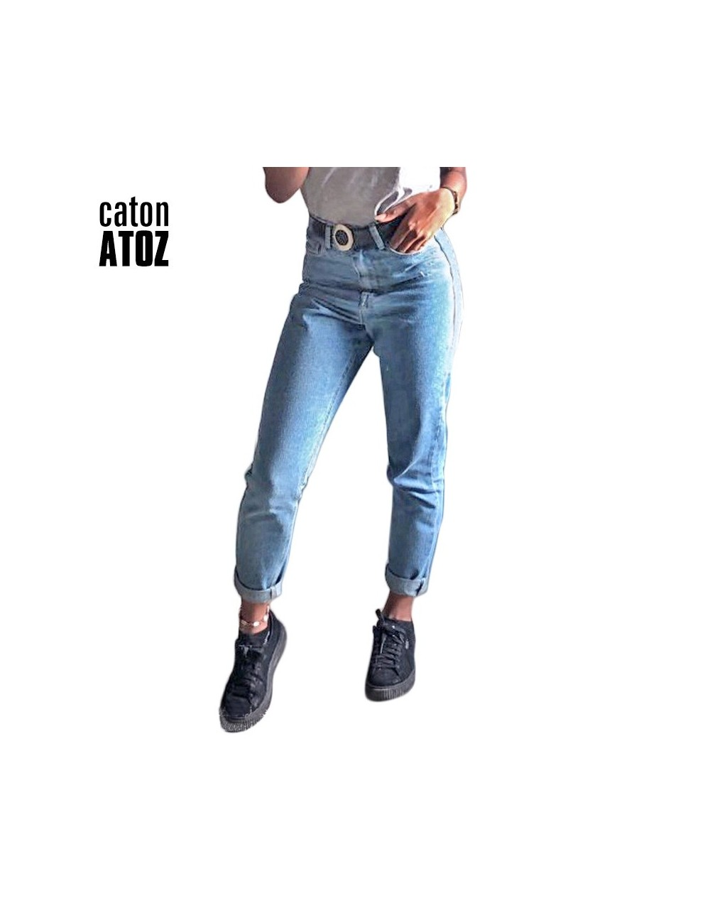 catonATOZ 1886 New Arrivals Women High Waisted Jeans OL Denim Pants Trousers Mom Jeans For Woman - - 4L3949826252