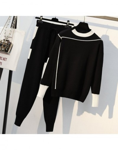 Women Knitted 2 Piece Set Casual Sportsuit O Neck Long Sleeve Pullover Sweater And Pant Set Autumn Winter 2Pcs Clothes Track...