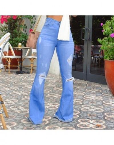 Jeans Women Denim Pants Flare Jeans High Waist Hole Button Tassel Pants Trousers Bell-bottom Pants Vaqueros Mujer 2B07 - Blu...