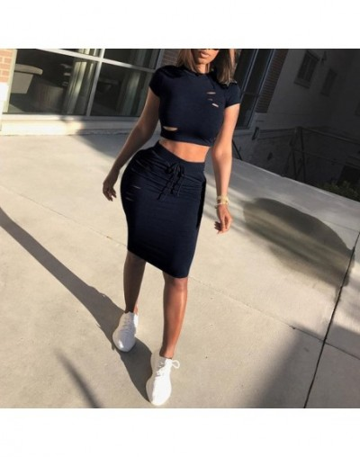Hot 2018 New Fashion Two Piece Set Summer Dresses Women Sexy Patchwork Cocktail Party Bodycon Bandage Dress Wholesale - Blac...