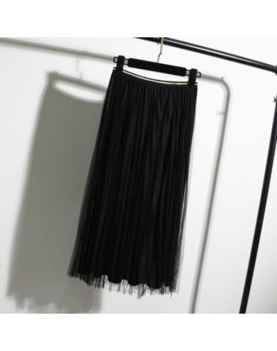 Tulle Skirts Womens Black Gray Spring Summer Elastic High Waist Pleated Midi Skirt Ankle Length Lurex Tutu Skirt - black 089...
