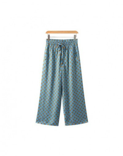 women vintage dot print wide leg pants pockets Drawstring tie elastic waist ladies streetwear casual trousers mujer KA240 - ...