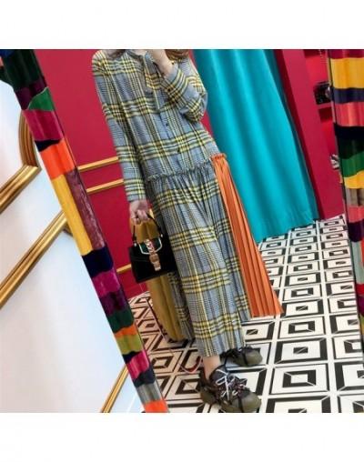 2018 Autumn Women Elegant Long Pleated Casual Long Sleeve Plaid Dress Female Patchwork Plaid Long Party Dress - yellow - 4A3...