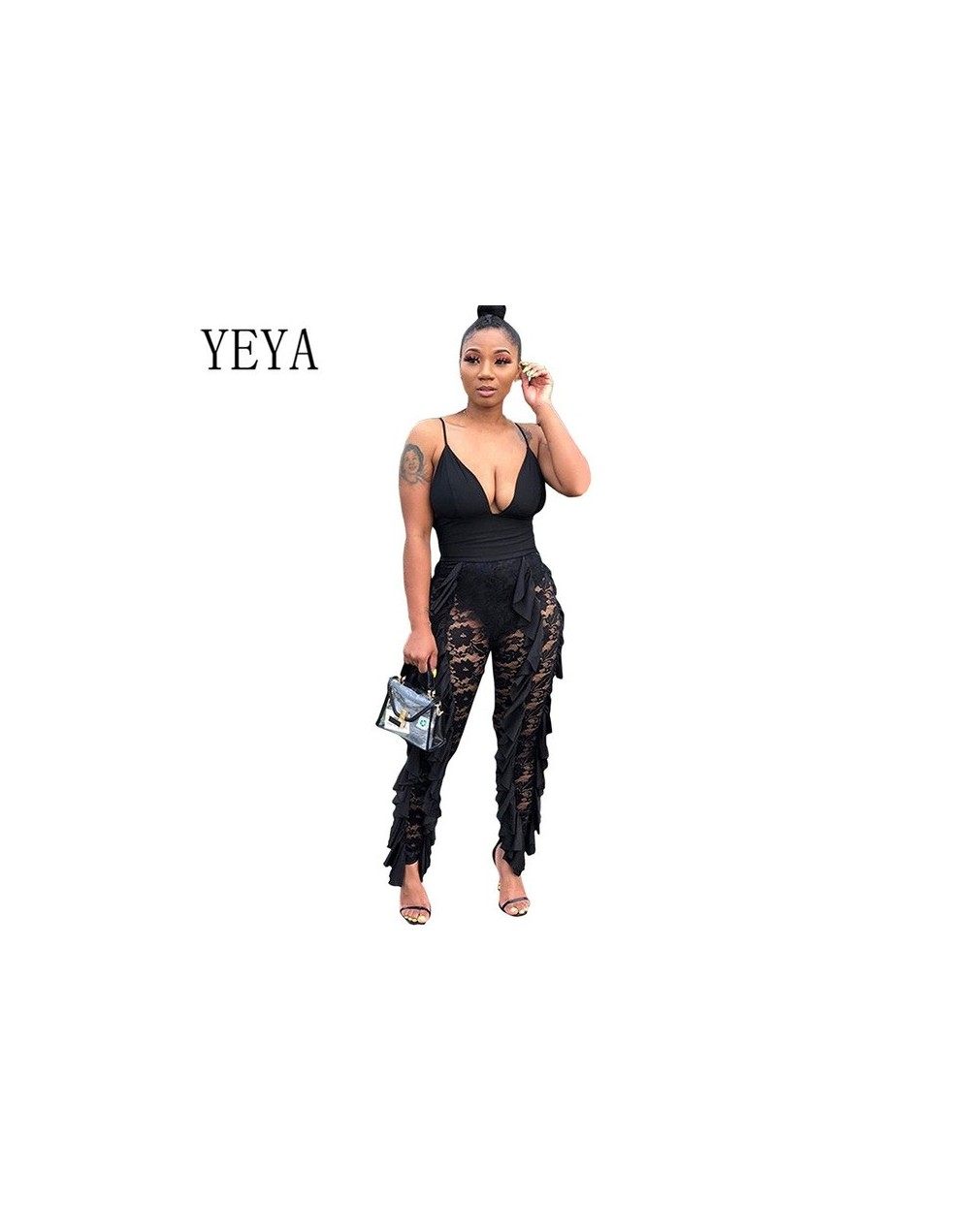Sexy Lace Floral Stitching Jumpsuits Femme Elegant Sleeveless V-neck Women Overalls Ruffle Patchwork Bodycon Long Rompers - ...