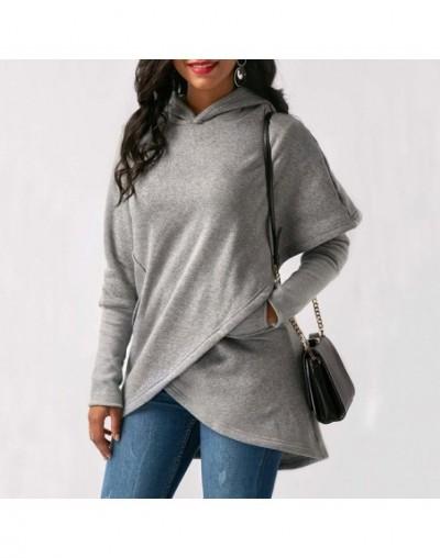 Women Irregular Hooded Hoodies Long Sleeve Sweatshirt Solid Pocket Pullover Tops FDC99 - Gray - 4N4156075630-3