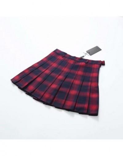 Spring Summer Harajuku Women Fashion Skirts Cute Yellow Black Red Lattice Pleated Skirt Punk Style High Waist Female Short S...