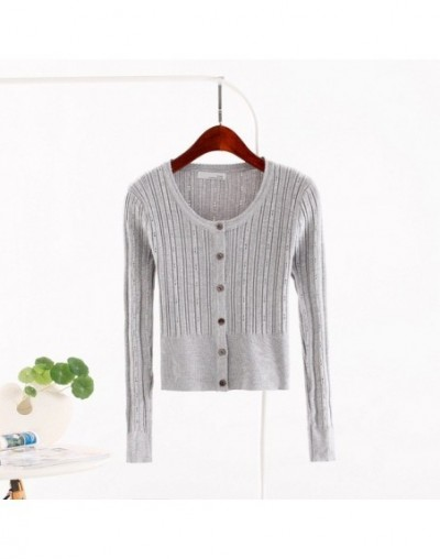Spring Autumn New Knitted Hollow Cardigan Women Coat Fashion O-Neck Slim Short Cardigan Sweater Femme Casual Solid Jacket Co...