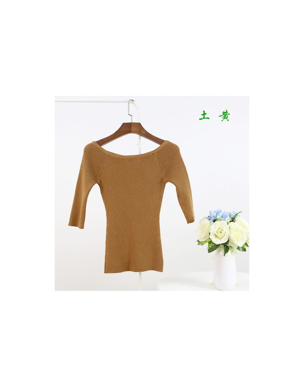 Sweaters For Women Knitted Three Quarter Sleeve Slit Slash Neck Shirt Pullover Sweater Femme Tricot Pull Jumper Jumper - dar...