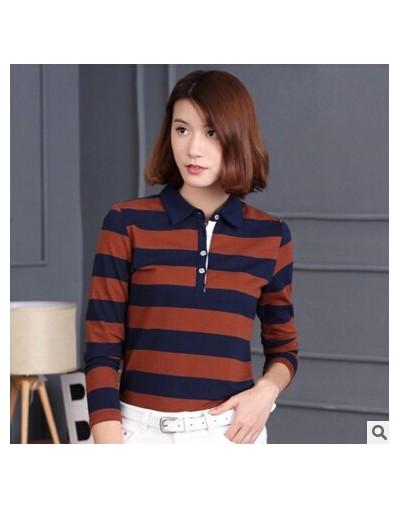 High quality Cheap Casual Long Sleeve Stripe Tops Pure Cotton Polo Shirts Autumn Women Polo Shirt Plus Size Woman Clothing -...