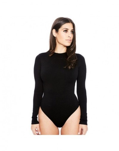 Bodysuit Women Sexy Long Sleeve Slim Pants Siamese Bottoming Bodysuit O-neck Skinny Sashes Jumpsuits 2017 dec7 - Black - 483...
