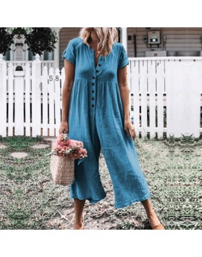 Front Button Bodysuits Women 2019 Summer Boho Playsuit Short Sleeve Rompers Cotton And Linen Casual Wide Leg Jumpsuit - lake...