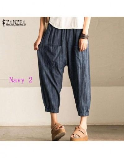 5XL Autumn Striped Pants Women Casual Baggy Pant Turnip Long Pantalon Palazzo Lady Elastic Waist Harem Pants Plus Size - Nav...