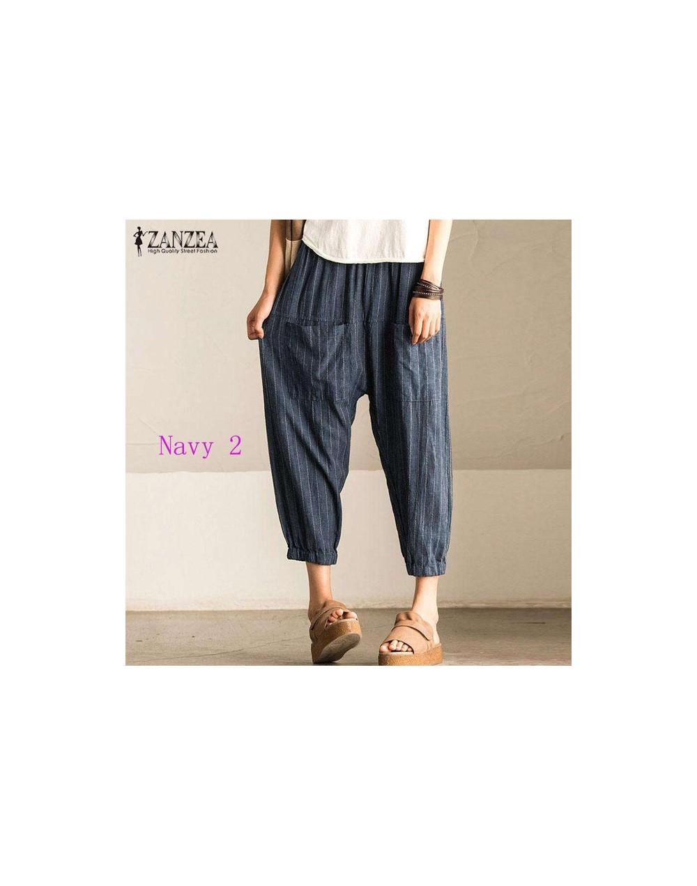 5xl Autumn Striped Pants Women Casual Baggy Pant Turnip Long Pantalon Palazzo Lady Elastic Waist Harem Pants Plus Size Navy 2 4c3066701886 3