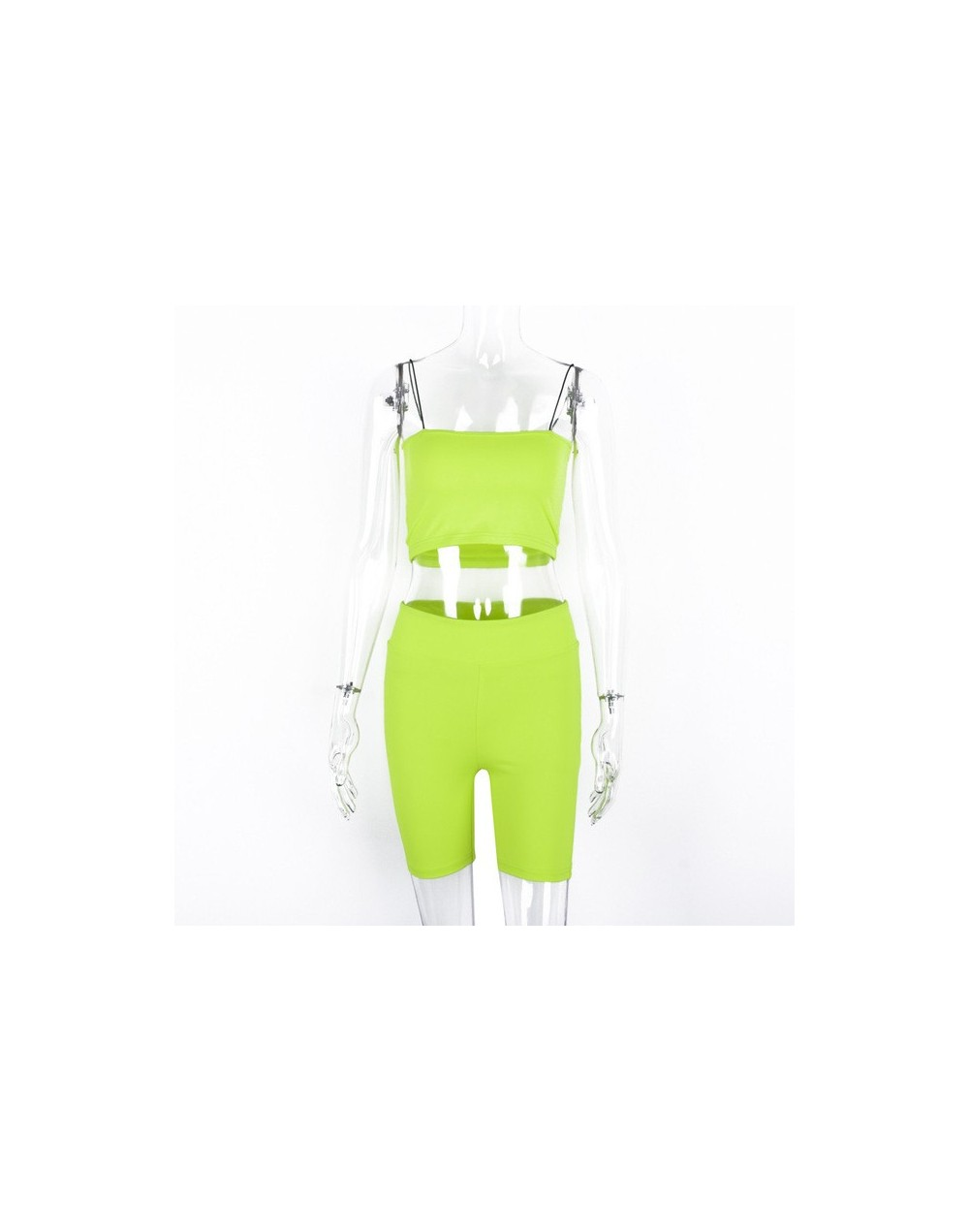 spaghetti straps camis shorts 2 pieces neon green sets 2019 summer women new arrival casual crop tops solid sets - Green - 4...