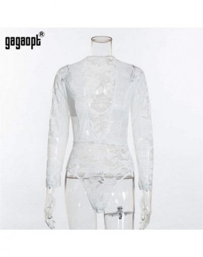 Lace Bodysuit Women Fashion Deep V Neck Patchwork Mesh Bodysuit White/Black Sexy Bodysuit Club Jumpsuit Overalls - White - 4...