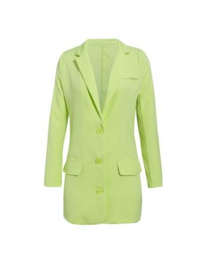 autumn winter 2019 high fashion blazer women pocket solid green blazer coats vintage ladies casual coat - Green - 5P11125606...