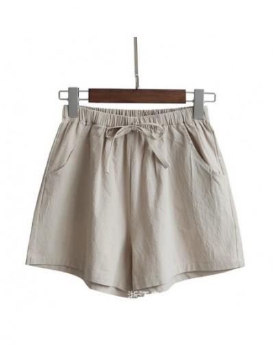 2019 New Style Women Summer Loose Shorts High Waist Cotton Linen Wide Leg Shorts Ladies Casual White Shorts - Khaki - 4P4123...