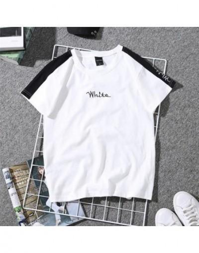 Women Short Sleeve T Shirt Print Couple Tees Harajuku Students Plus Size White Female Graphic Striped T-shirt 2019 Poleras M...