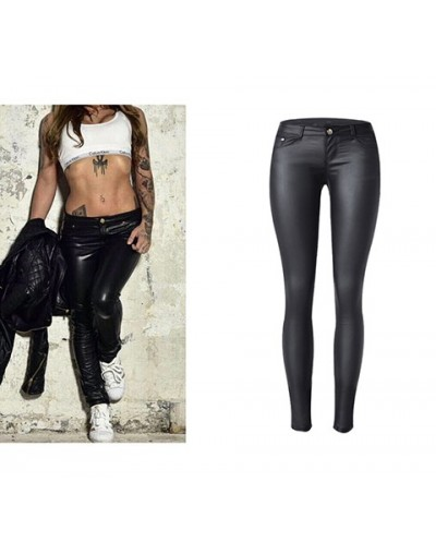 Women Low Waist Pants Stretch Washed Coated PU Leather Jeans Women Sexy Skinny Pencil Pants Motorcycle Faux Leather Pant - B...