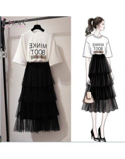 2019 Summer 2 Pieces Sets Women Elegant a Line Mesh Long Skirt Two Pieces Sets Casual Two Piece Outfits 2xl Plus Size - 2 - ...
