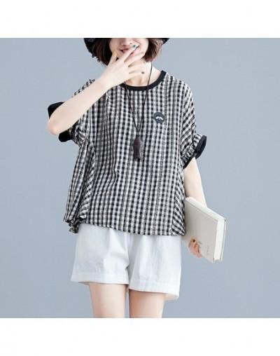 plus size women clothing plaid blouses woman 2019 summer Japanese stye loose sweet casual black red plaid shirt - Black - 4J...