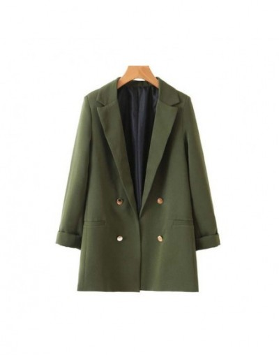 Vintage Stylish Buttons Office Lady Blazers Coat Women 2019 Fashion Three Quarter Sleeve Pockets Outerwear Casual Casaco Fem...
