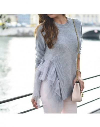 Lace Ruffles Knitted Sweater For Women Winter Asymmetric Tops Large Big Size Pullover Female Jumpers Casual Clothes - Gray -...