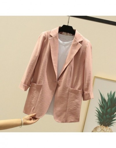 2019 Summer Women 3/4 Sleeve Cotton Linen Blazers And Jackets Solid White/Pink/Yellow/Black Casual Loose Small Suit Coat - P...