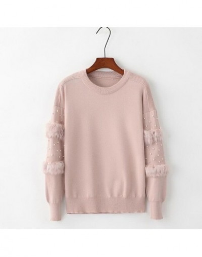 Women Pearl Beading Tops Sweater 2018 Autumn Winter Rabbit Fur Sleeves Loose Knitted Pullovers O-neck Women Knitting Jumpers...