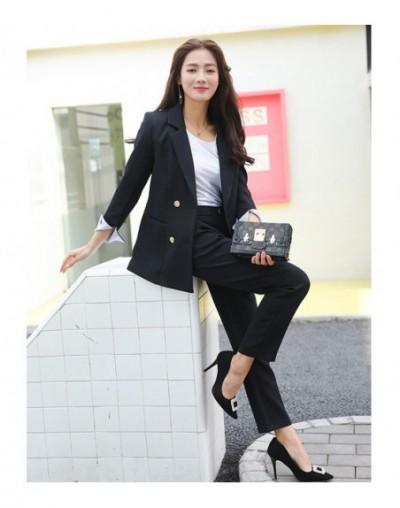 2019 ladies suit autumn new casual double-breasted professional blazer slim slimming pants two sets of wild women's clothing...