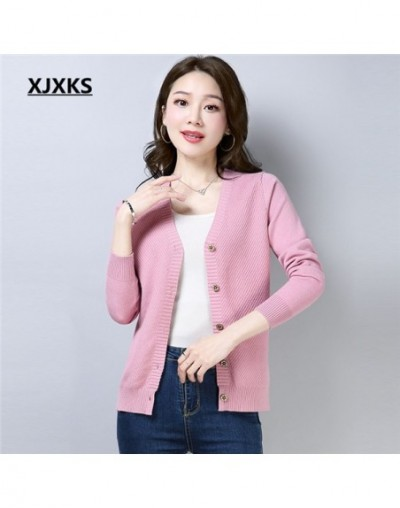 autumn 2018 new sale fashion solid color stretch women cardigan sweaters m-xxl comfortable women's sweater coat - Pink - 4B3...