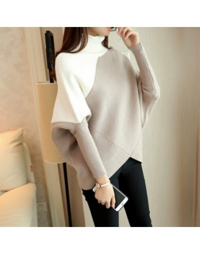 Female winter sweater loose turtleneck sweater 2019 irregular Korean female backing sweater coat thick - white coffee - 4S39...
